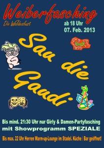 Am 07.02.13 feiern wir in der Waldeslust in Unterhaching/Fasanenpark Weiberfasching ab 18 Uhr.